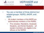 iadr aadr and nsrg1