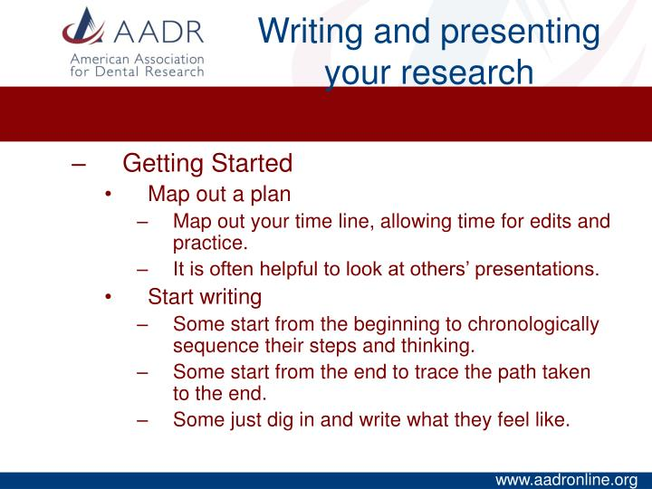 Writing and presenting your research