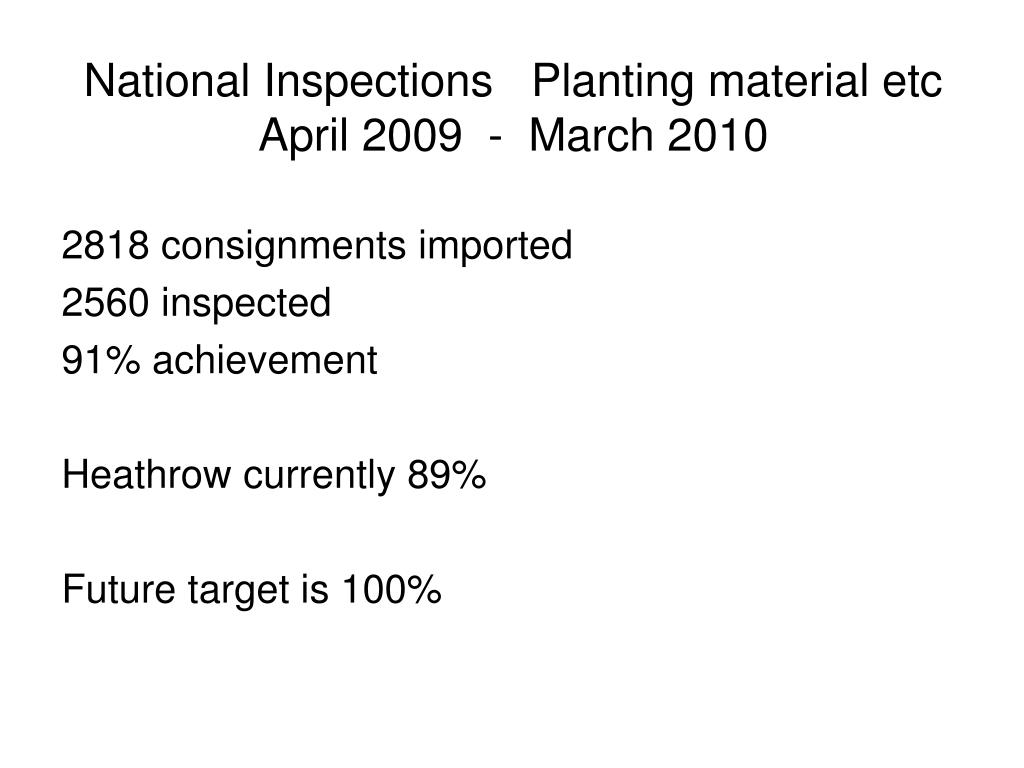 National Inspections   Planting material etc