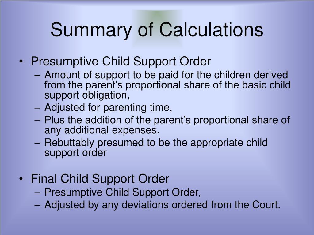 Summary of Calculations