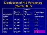 distribution of nis pensioners march 2007