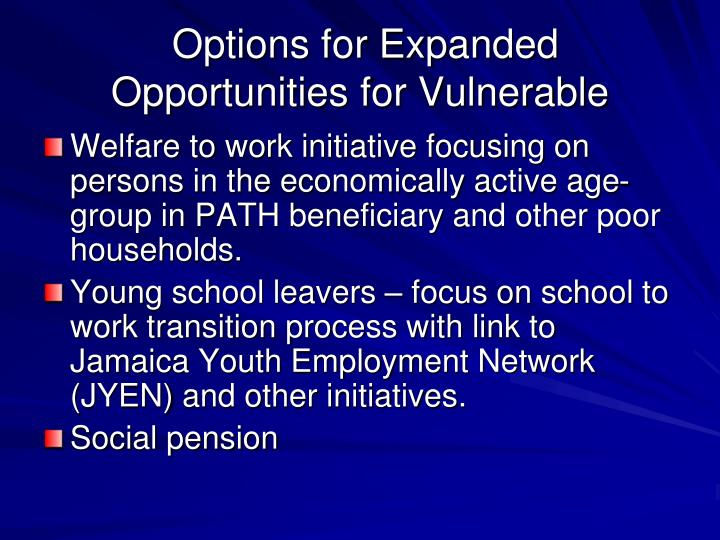 Options for Expanded Opportunities for Vulnerable