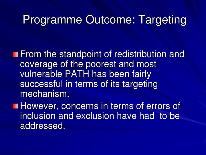 Programme Outcome: Targeting