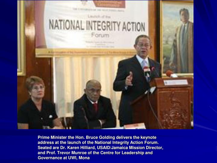 Prime Minister the Hon. Bruce Golding delivers the keynote address at the launch of the National Integrity Action Forum.