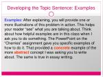 developing the topic sentence examples