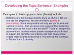developing the topic sentence examples21