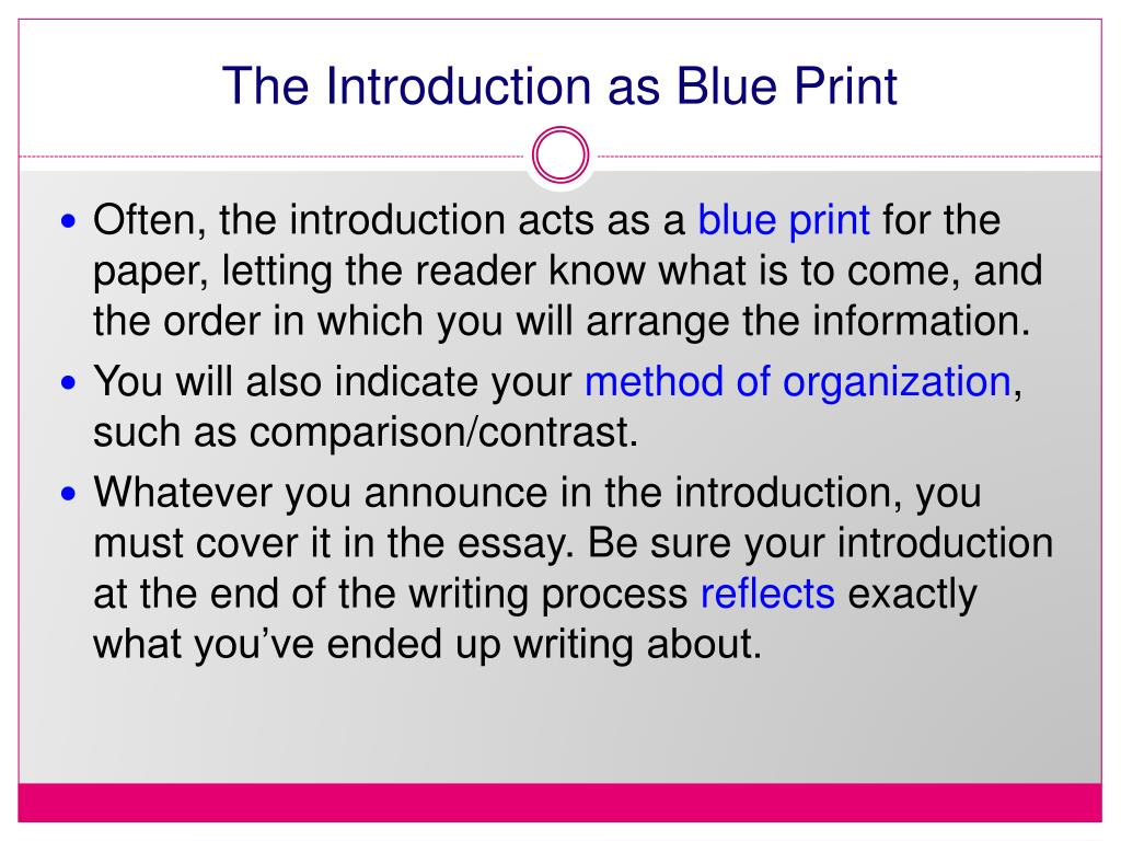 The Introduction as Blue Print