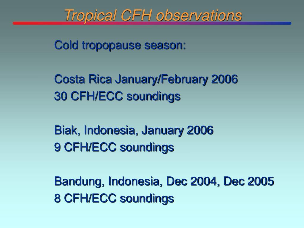 Tropical CFH observations