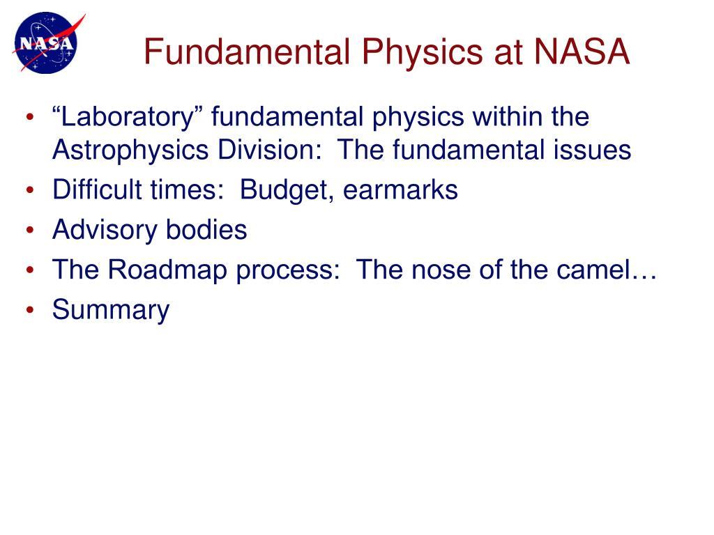 Fundamental Physics at NASA