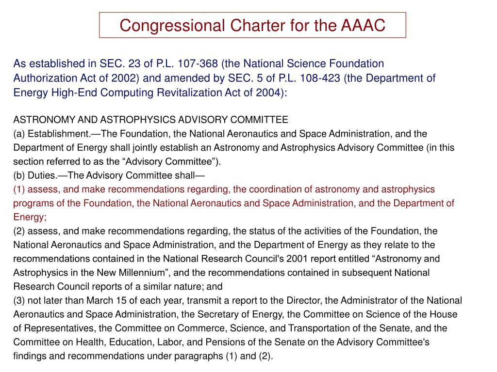 Congressional Charter for the AAAC