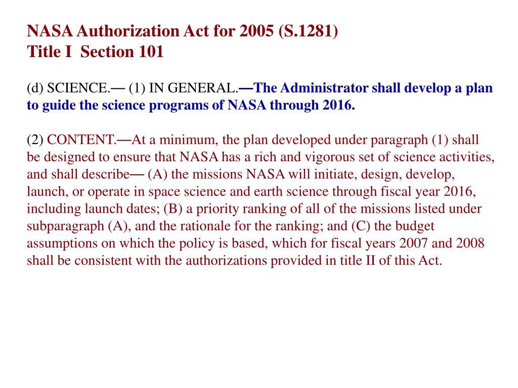 NASA Authorization Act for 2005 (S.1281)