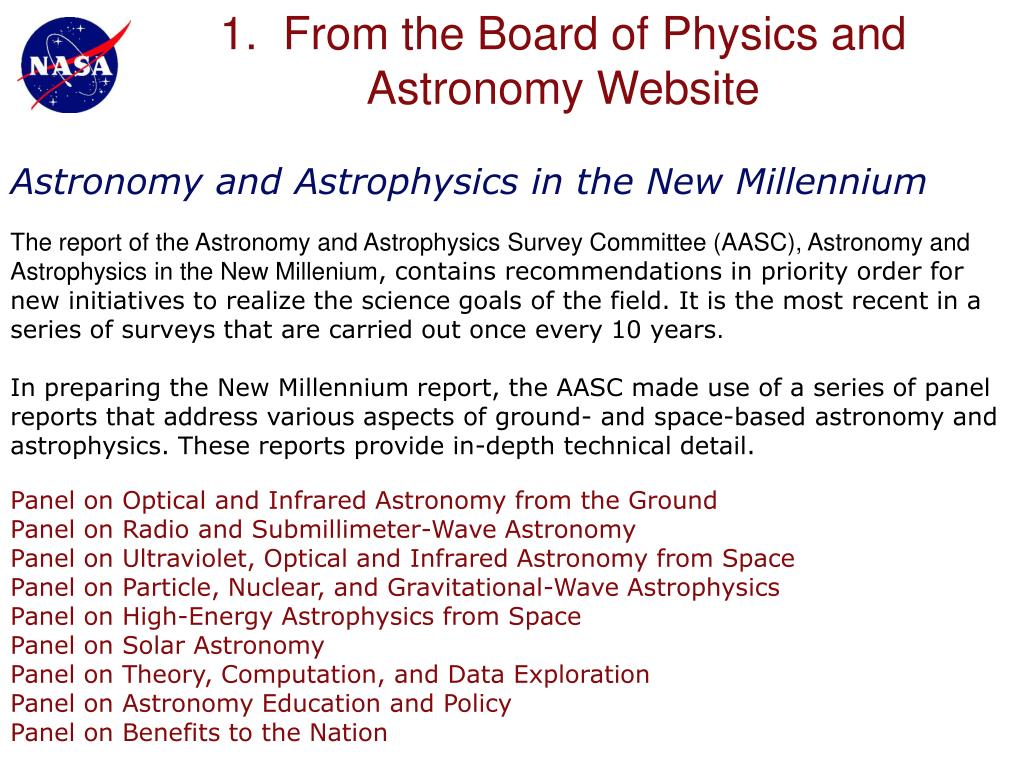 1.  From the Board of Physics and Astronomy Website