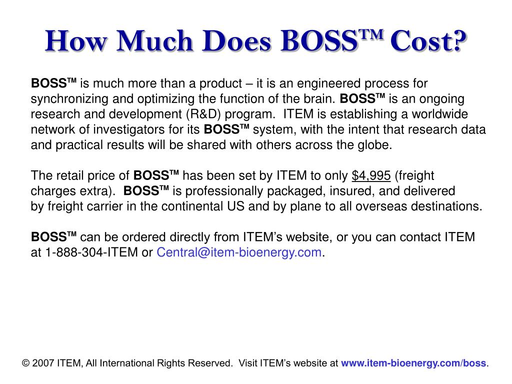 How Much Does BOSS