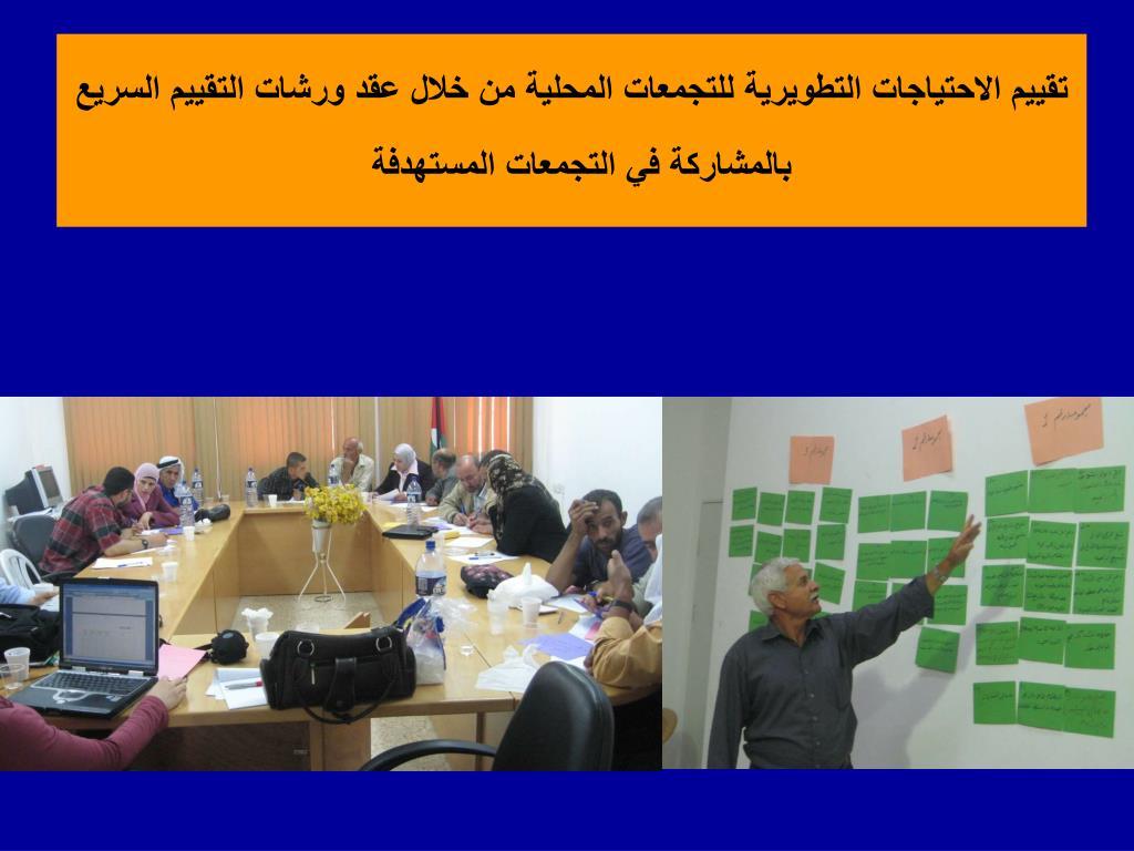 تقييم الاحتياجات التطويرية للتجمعات المحلية من خلال عقد ورشات التقييم السريع بالمشاركة في التجمعات المستهدفة