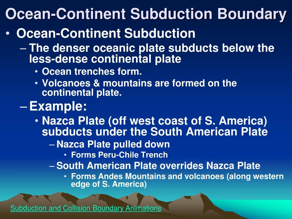 Ocean-Continent Subduction Boundary