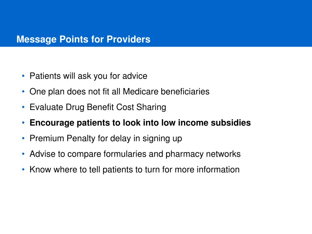 Message Points for Providers