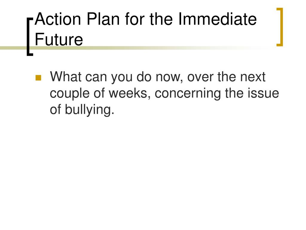 Action Plan for the Immediate Future