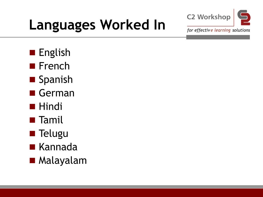 Languages Worked In