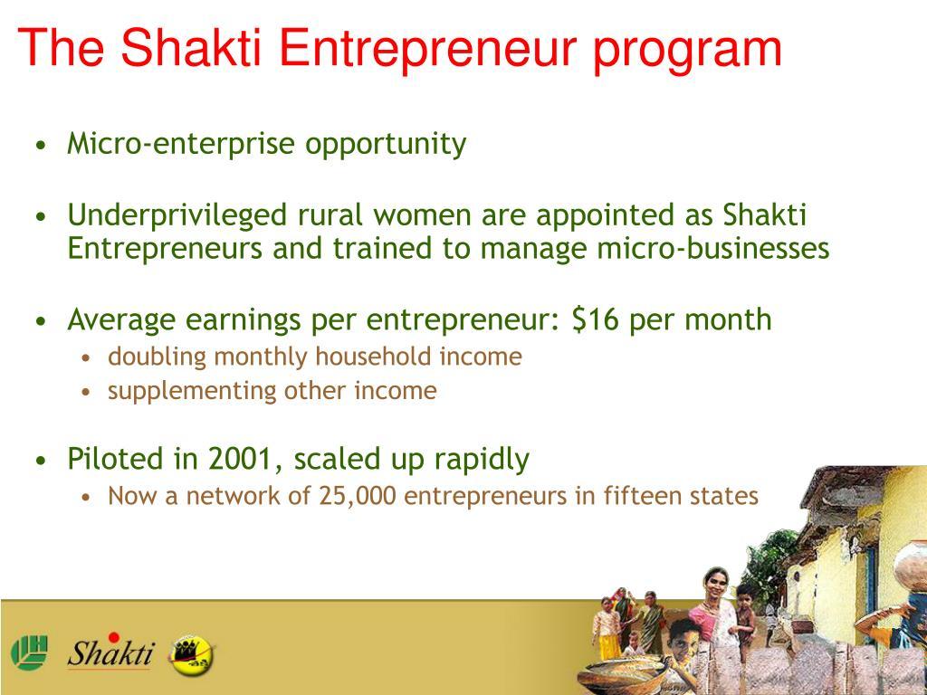 The Shakti Entrepreneur program