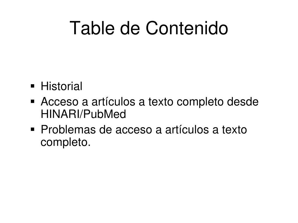 Table de Contenido