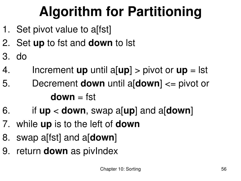 Algorithm for Partitioning