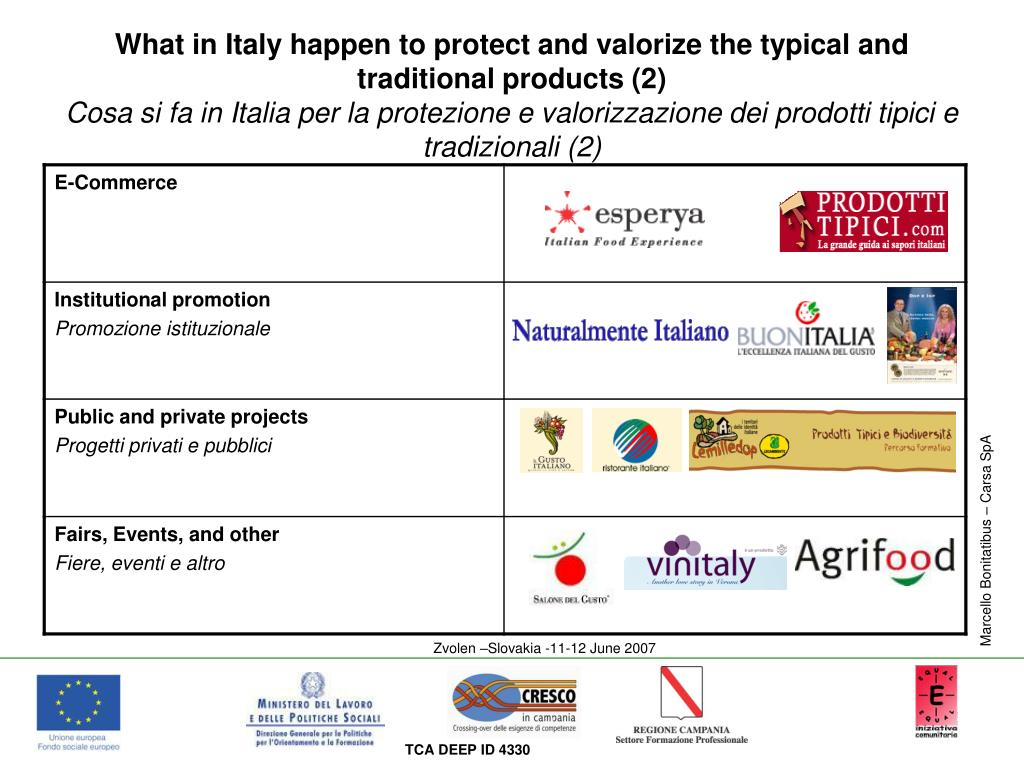 What in Italy happen to protect and valorize the typical and traditional products (2)
