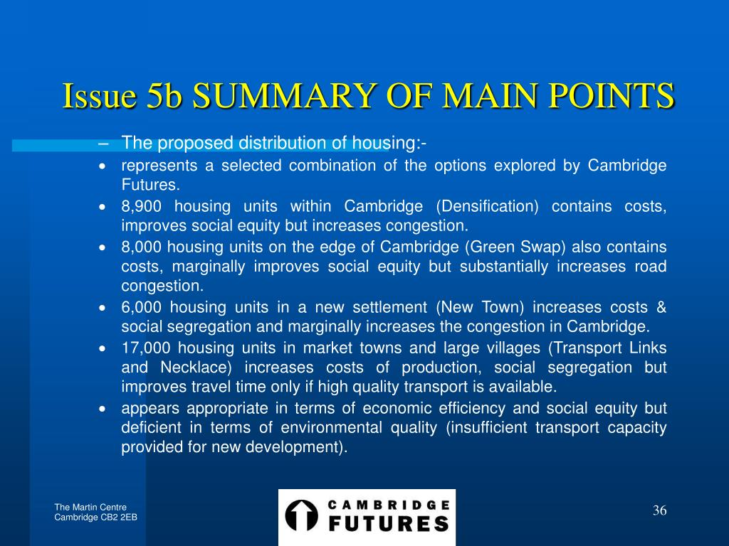 Issue 5b SUMMARY OF MAIN POINTS