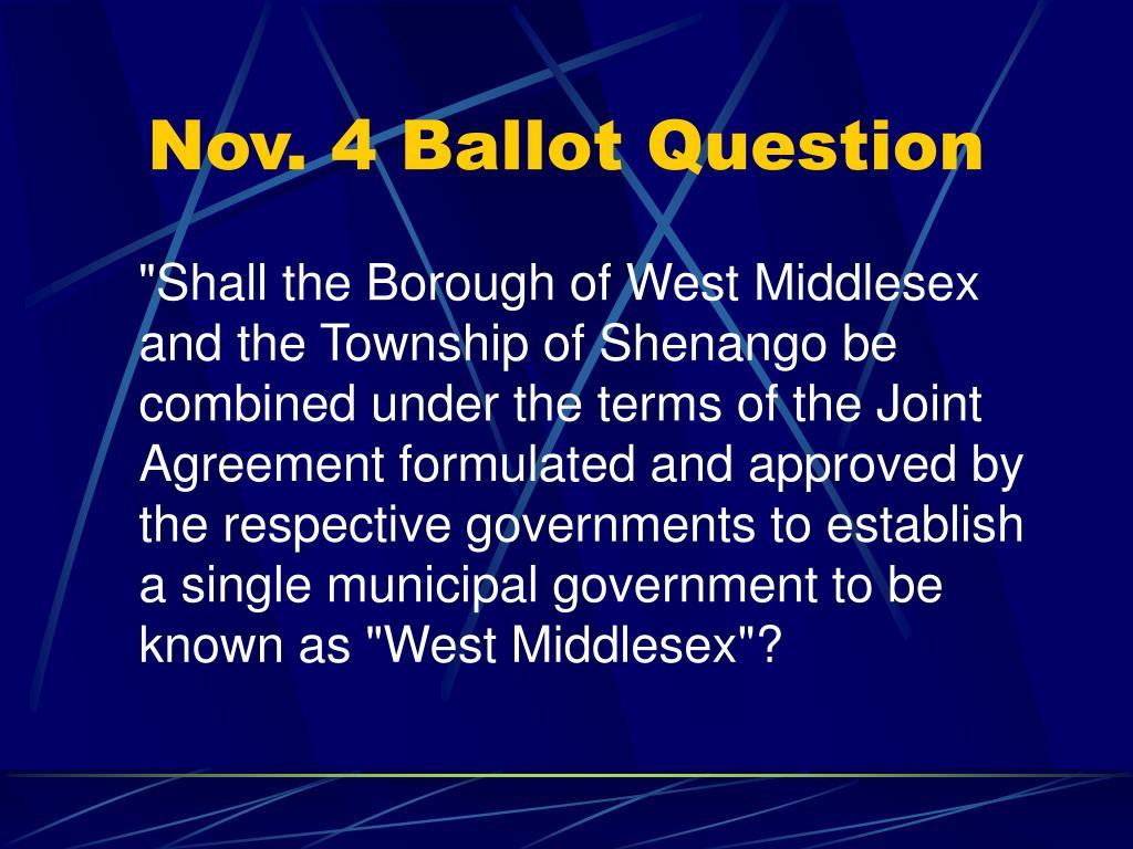 Nov. 4 Ballot Question