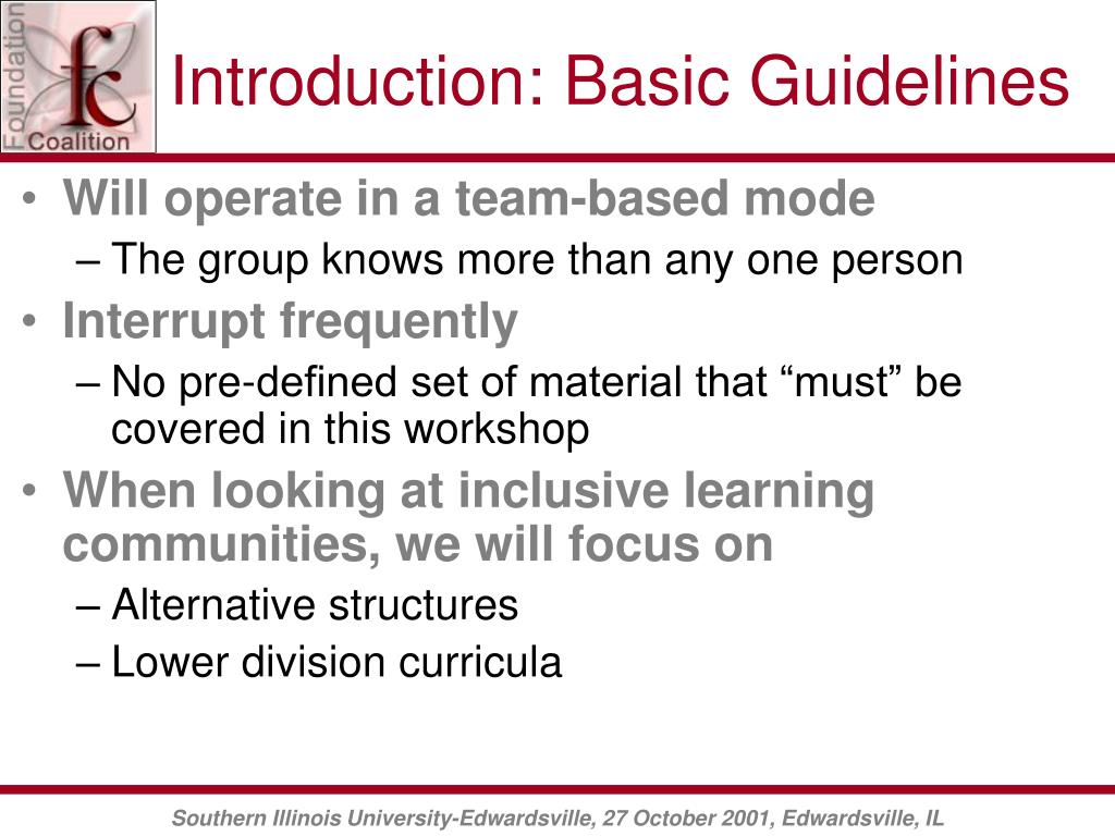Introduction: Basic Guidelines