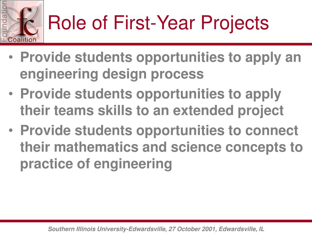 Role of First-Year Projects