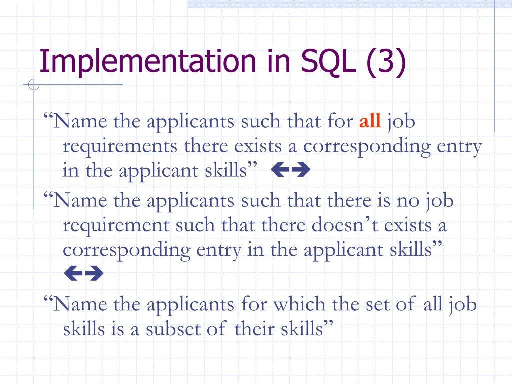 Implementation in SQL (3)