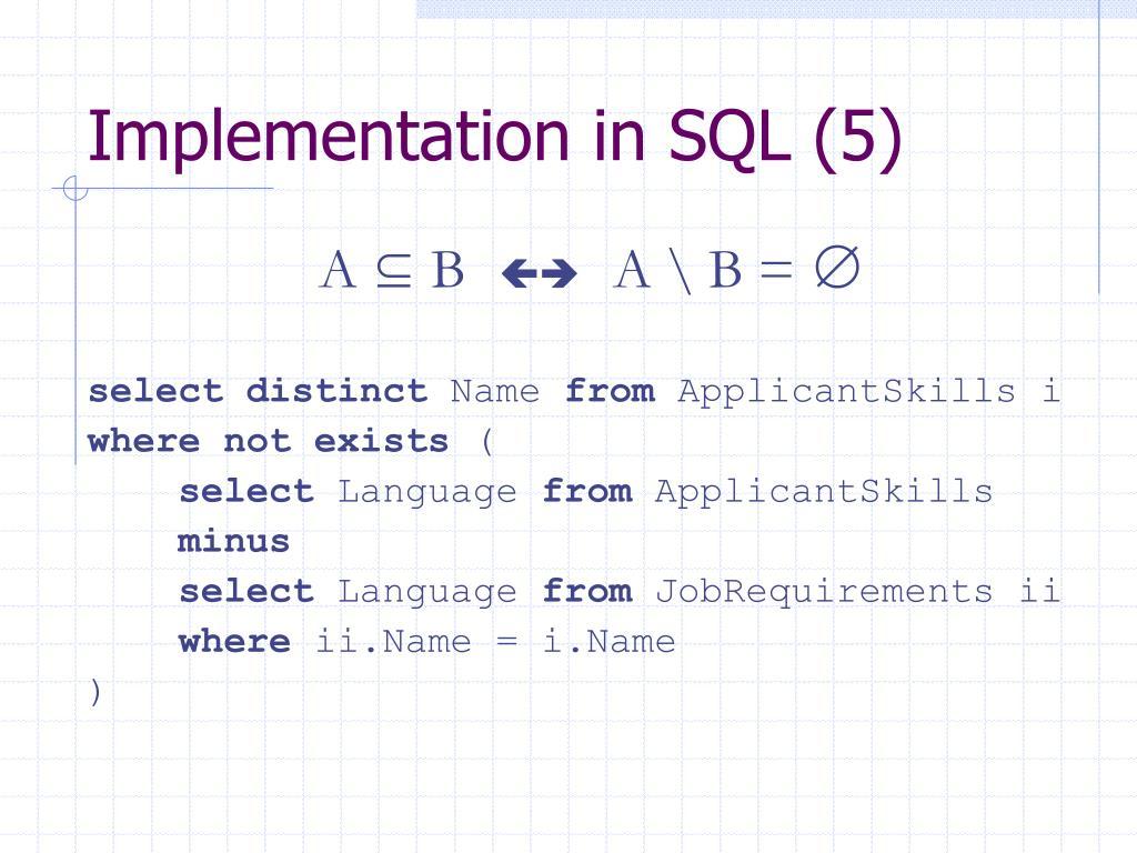 Implementation in SQL (5)
