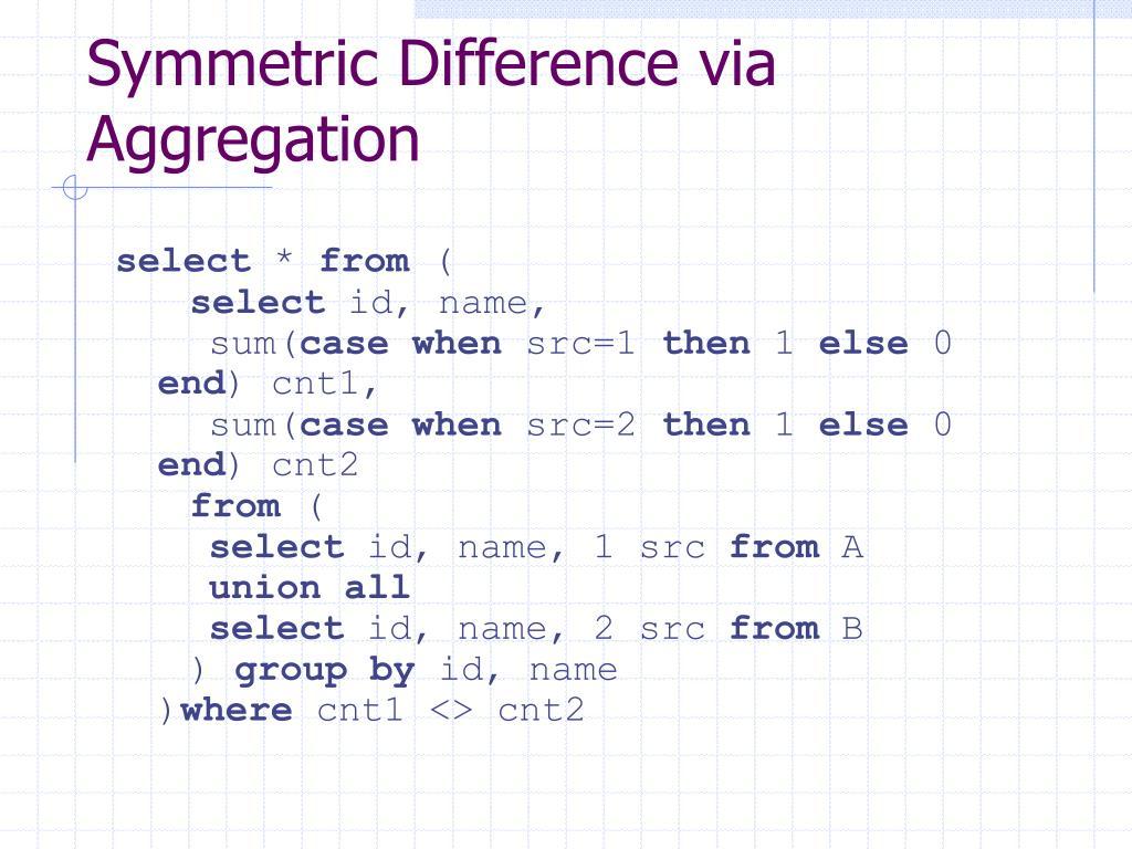 Symmetric Difference via Aggregation