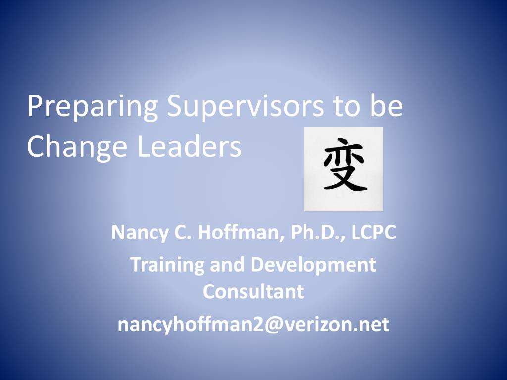 preparing supervisors to be change leaders