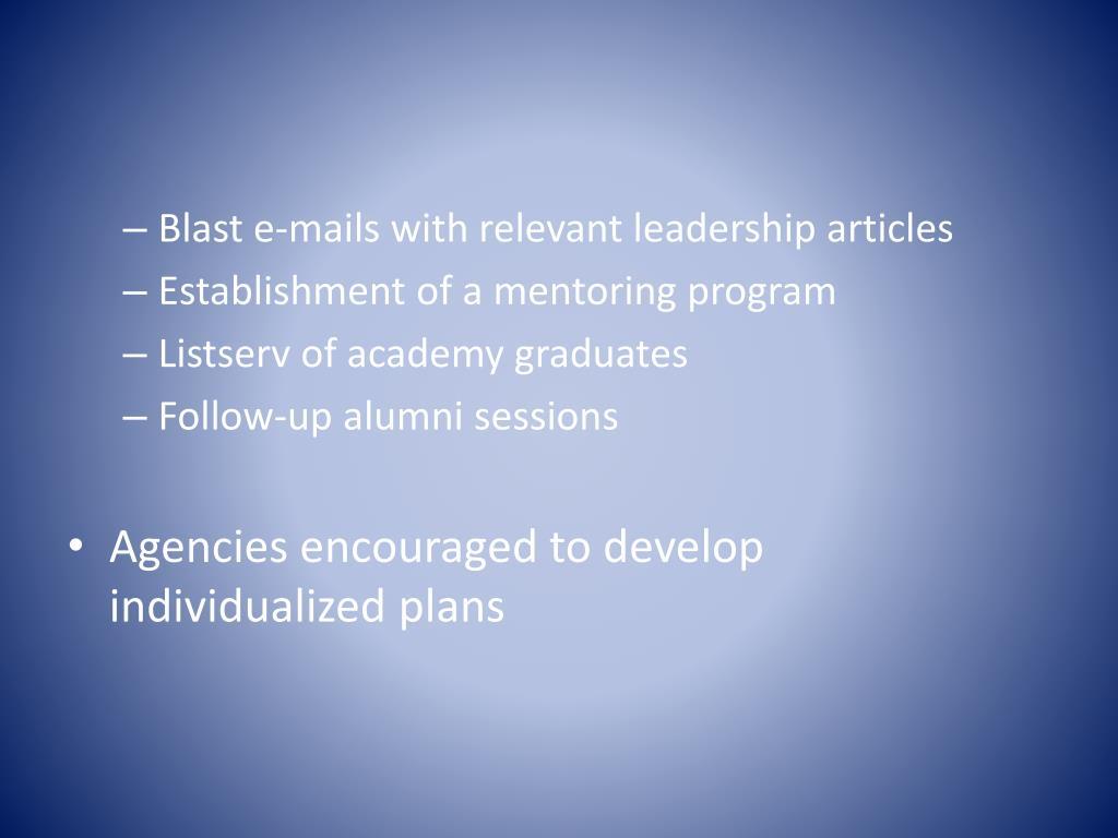 Blast e-mails with relevant leadership articles