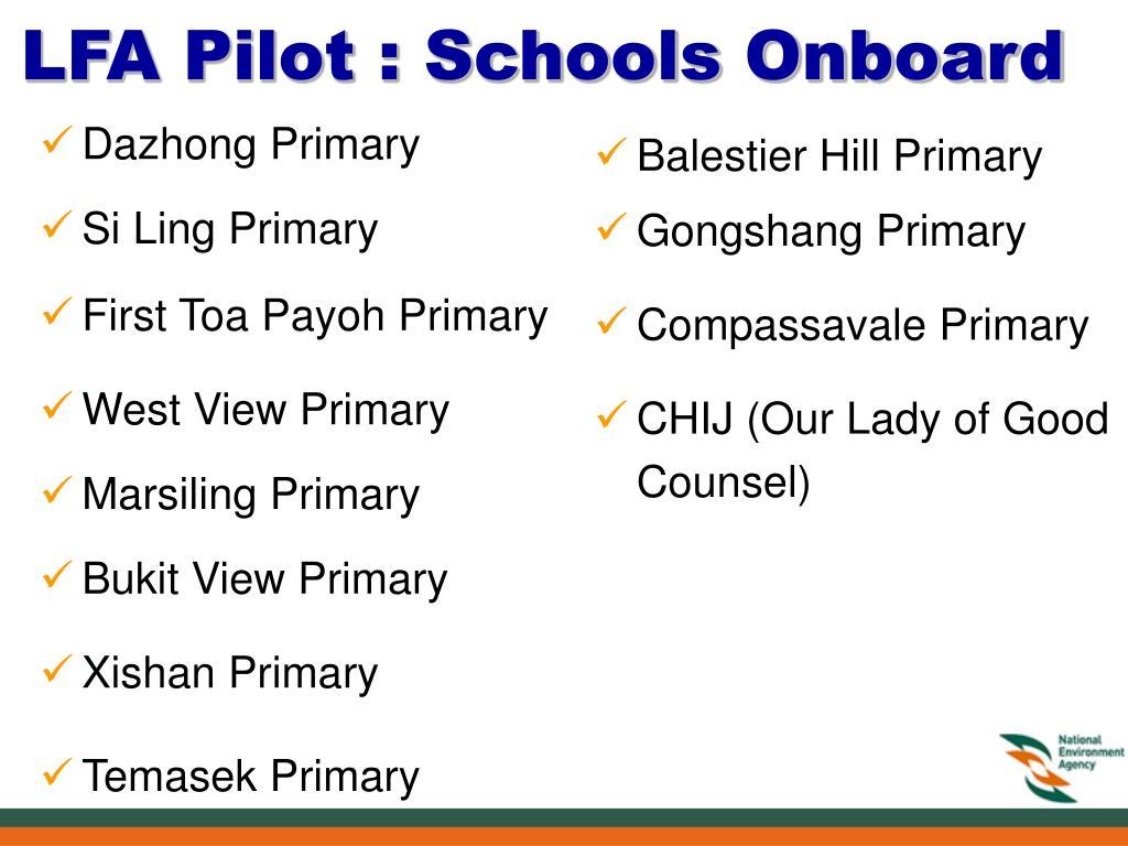 LFA Pilot : Schools Onboard