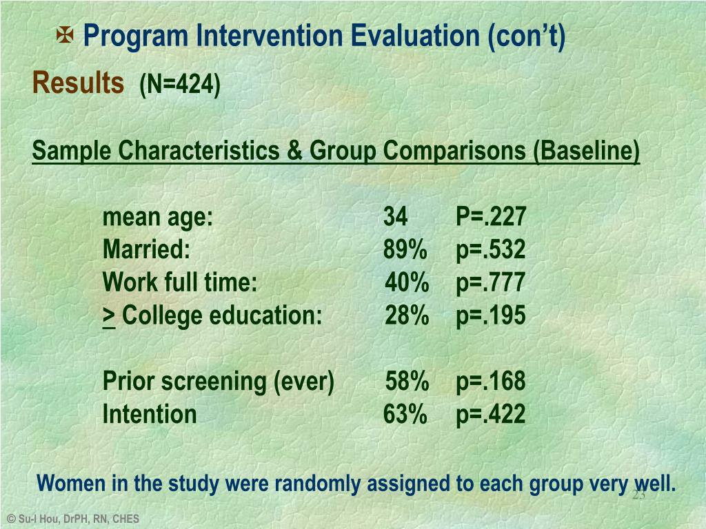 Program Intervention Evaluation (con't)