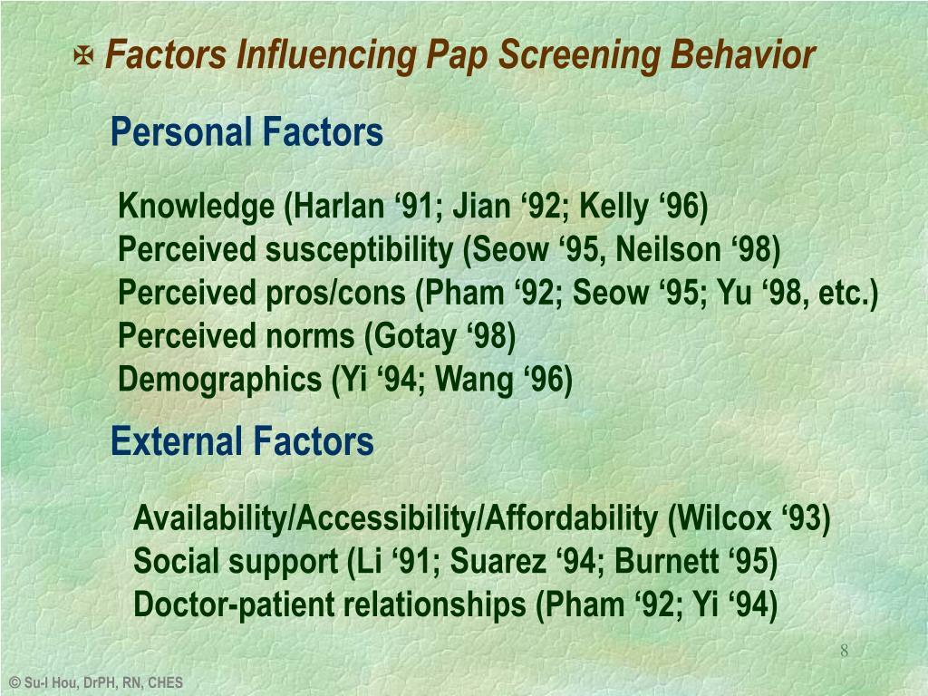 Factors Influencing Pap Screening Behavior