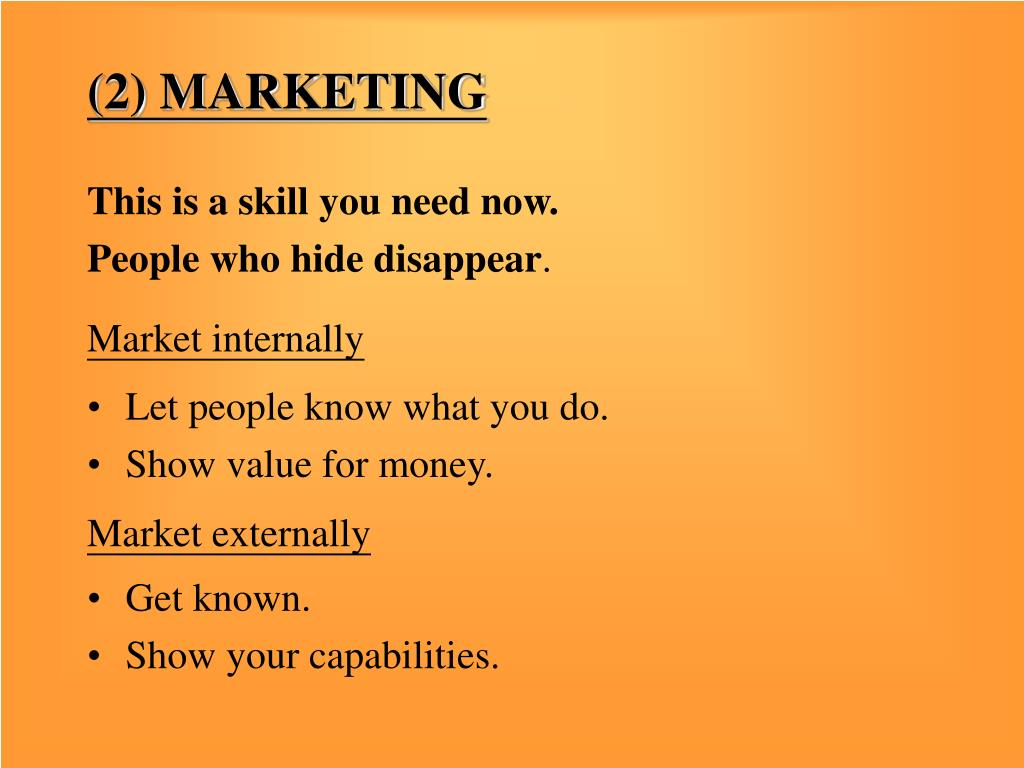(2) MARKETING