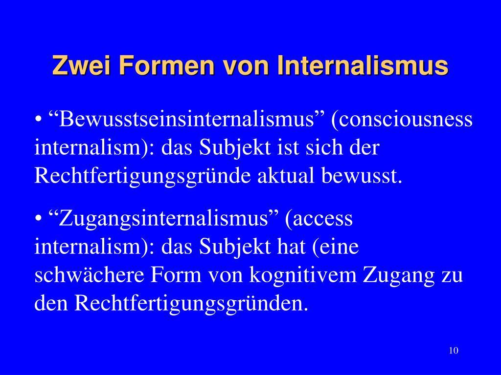 Zwei Formen von Internalismus