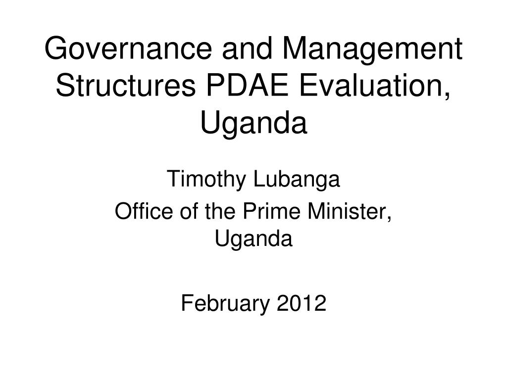 Governance and Management Structures PDAE Evaluation,