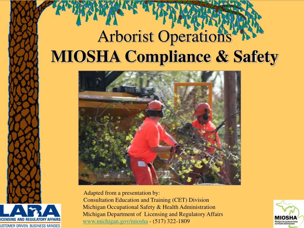 arborist operations miosha compliance safety
