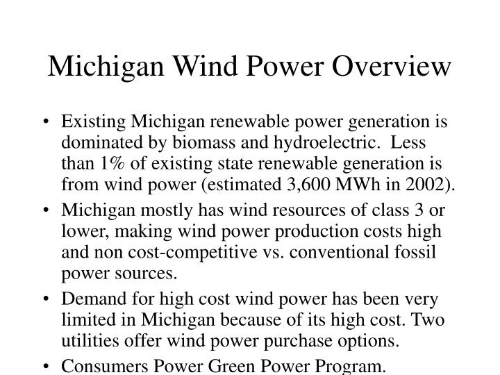 Michigan wind power overview