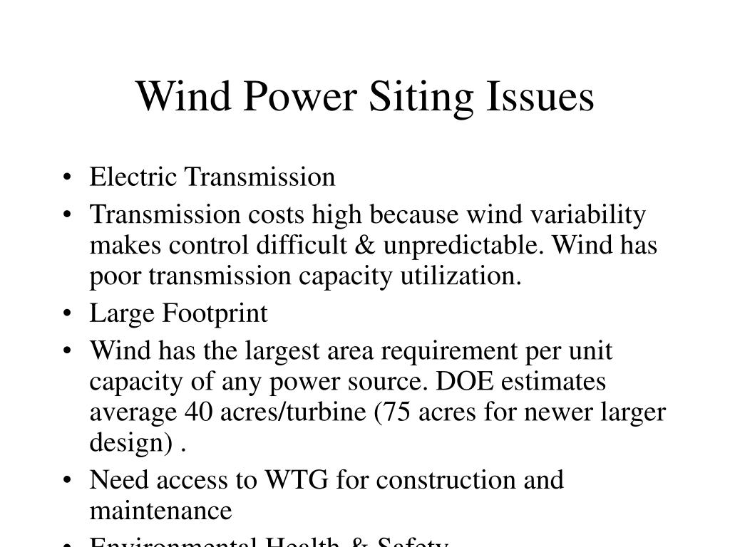 Wind Power Siting Issues