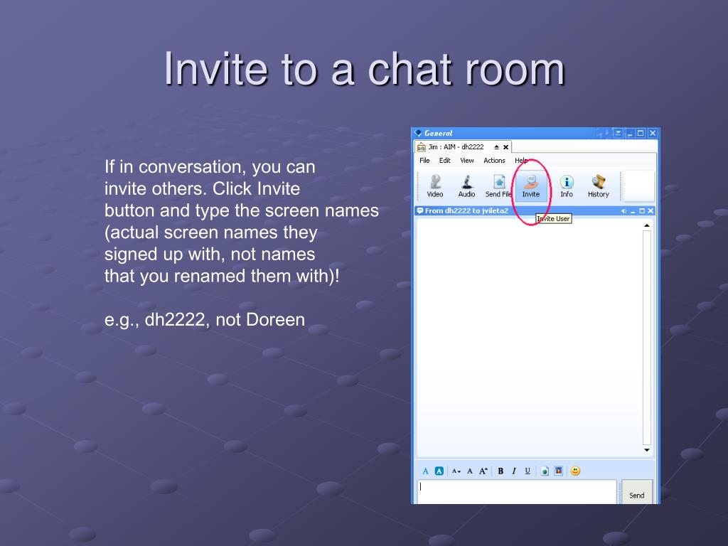 Invite to a chat room