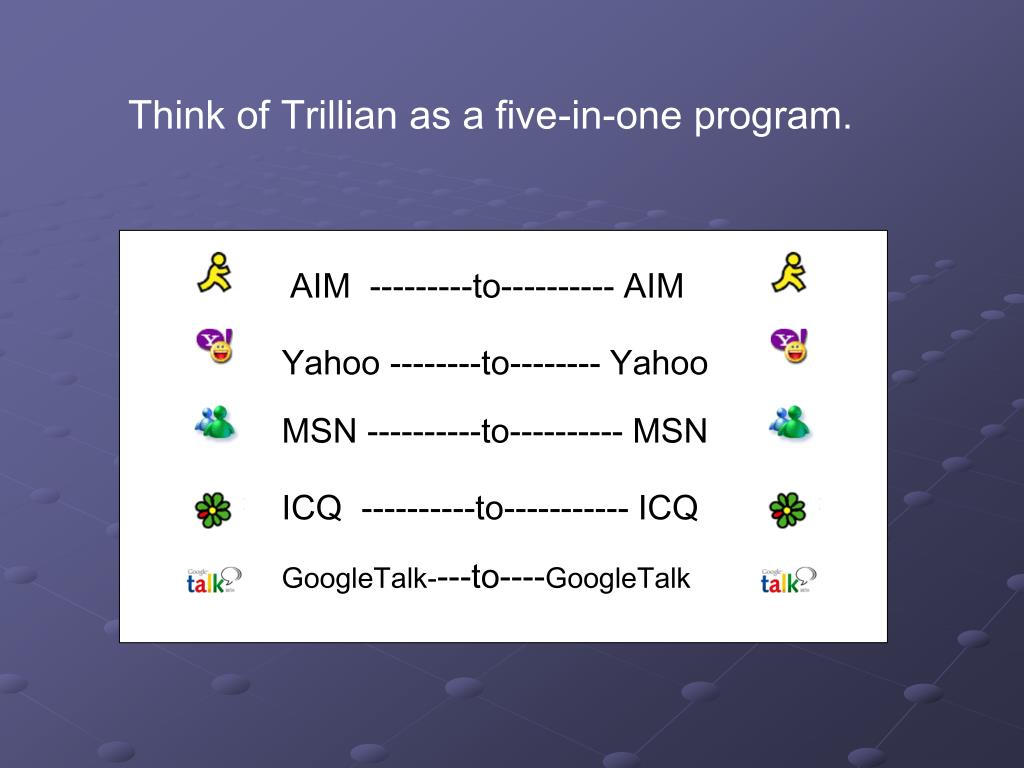 Think of Trillian as a five-in-one program.