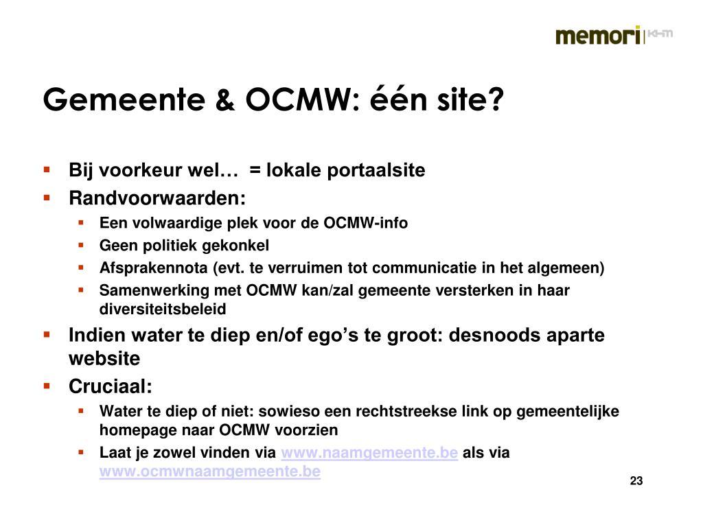 Gemeente & OCMW: één site?