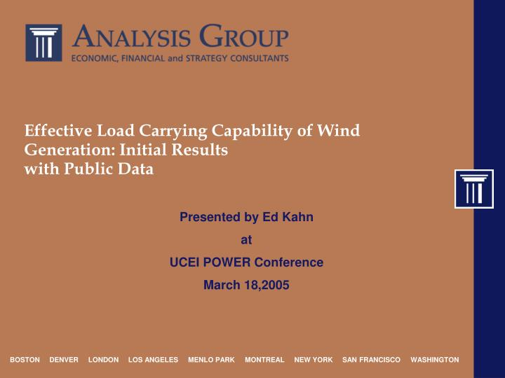 Effective load carrying capability of wind generation initial results with public data