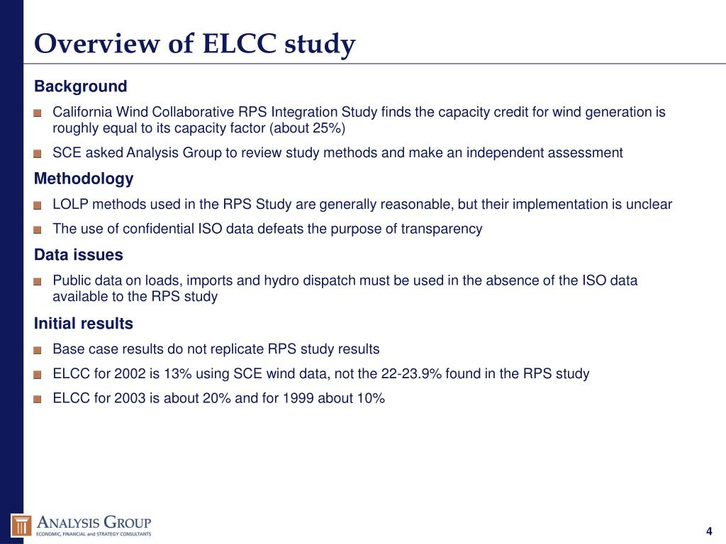 Overview of ELCC study