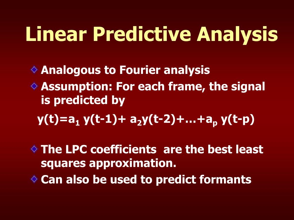 Linear Predictive Analysis